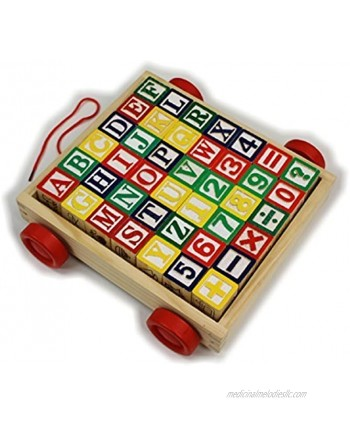 Matty's Toy Stop 42-Piece Classic Wooden ABC 123 Stack and Build Blocks Wagon with Learning Pictures