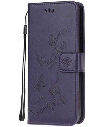 Strap Leather Case for Samsung Galaxy A21S,Dark Purple Wallet Leather Cover for Galaxy A21S,Herzzer Classic Pretty Butterfly Lotus Drawing Embossed Magnetic Stand Card Holders Case